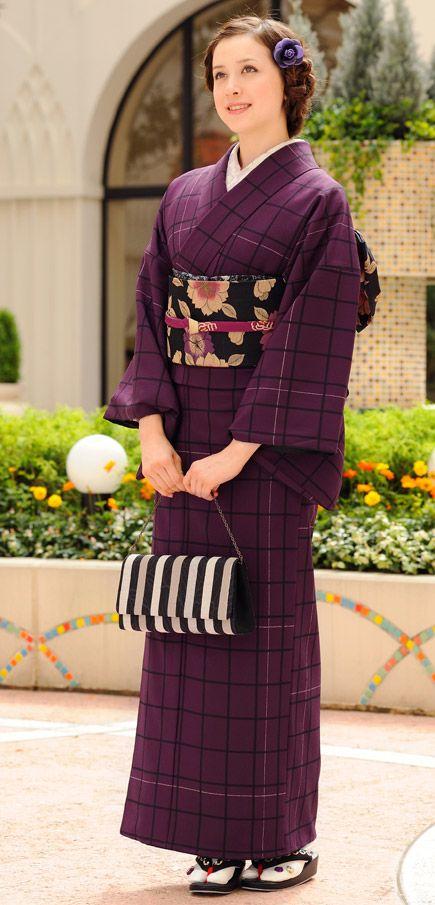 Purple plaid kimono