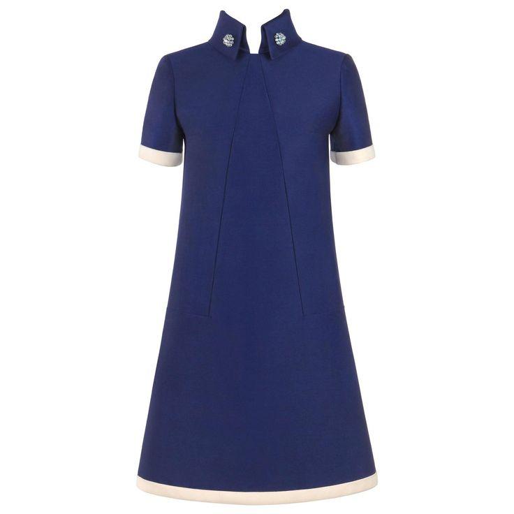 17ccb49435f Karl Lagerfeld Jean Patou C.1960 Wool -Line Shift Dress, Blue Size 12 |  Jackie O | Karl lagerfeld, Sheer sleeve dress, Blue wool