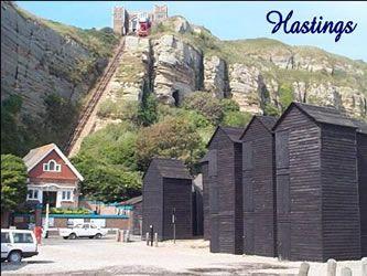 Cliff railway & fishing huts, Hastings