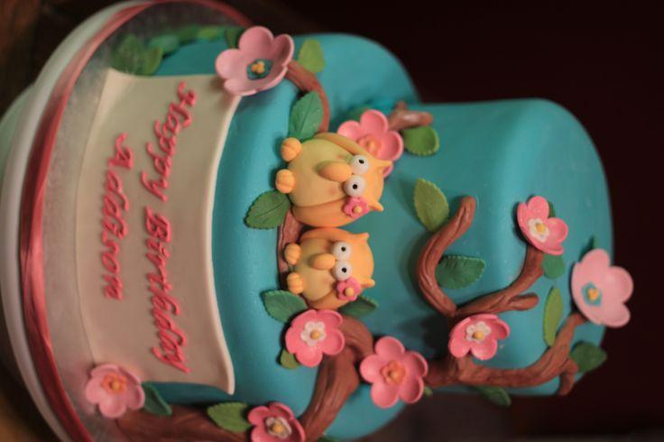 Owl Theme Cake - My Niece 1st bday Cake.