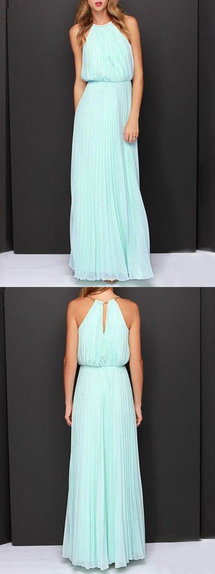 Mint Green Pink Cut Away Pleated Chiffon Maxi Dress. Bridesmaids | Aisle Perfect