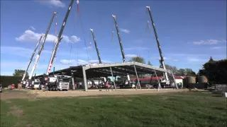 Roof lift using six of Smiths cranes - 60t of structural steel