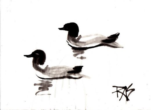 Two Loons sumi-e painting by Robert A. Sloan from photo reference by WC member Helen for Weekend Drawing Event on WetCanvas.com