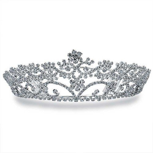 Bling Jewelry Rhinestone Flower Headpiece Crown Tiara Silver Plated *** Check out the image by visiting the link.(This is an Amazon affiliate link and I receive a commission for the sales)