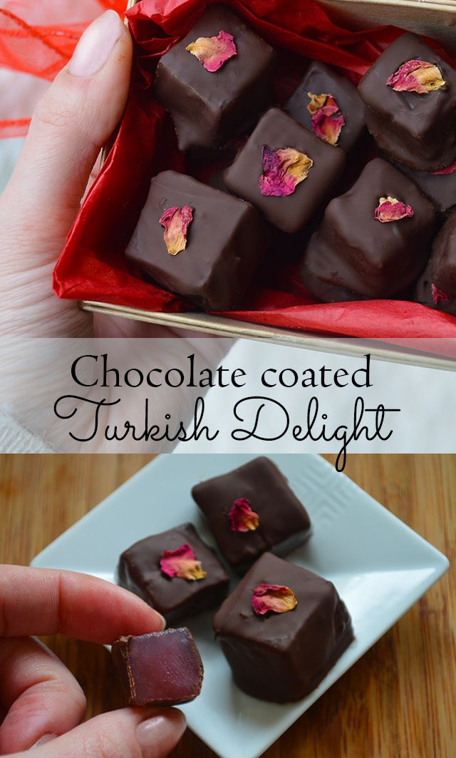 Roses aren't just for the garden! How to make Chocolate covered Turkish Delight - rich dark chocolate coating soft and aromatic rose candy #edibleflowers