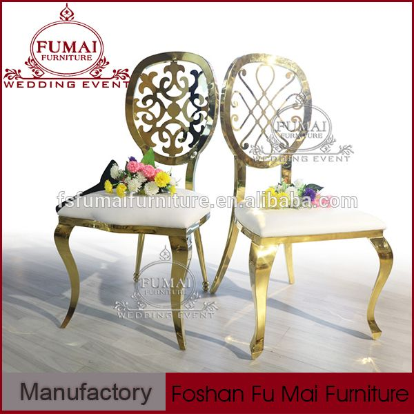 Pu Cushion Whole Gold Stainless Steel Banquet Hall Furniture Used Chairs