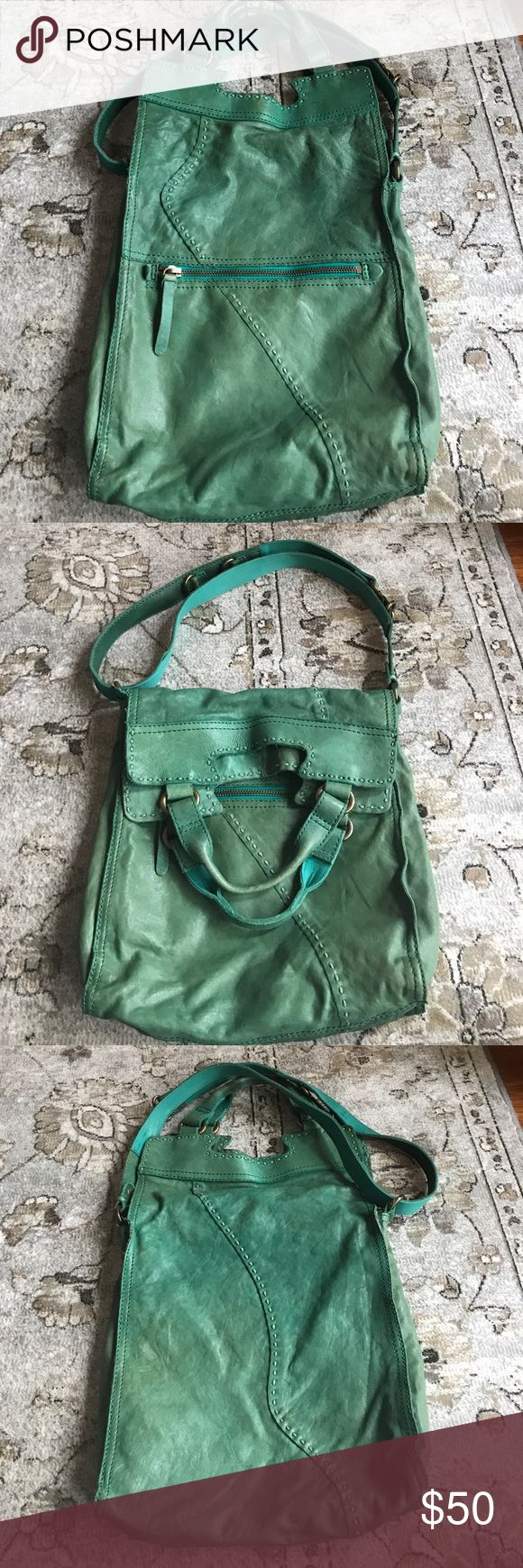 Lucky Brand purse Green Italian leather, adjustable strap, outside zipper, fold-over main closure, put over one shoulder or use as a crossbody messenger type bag Lucky Brand Bags Shoulder Bags
