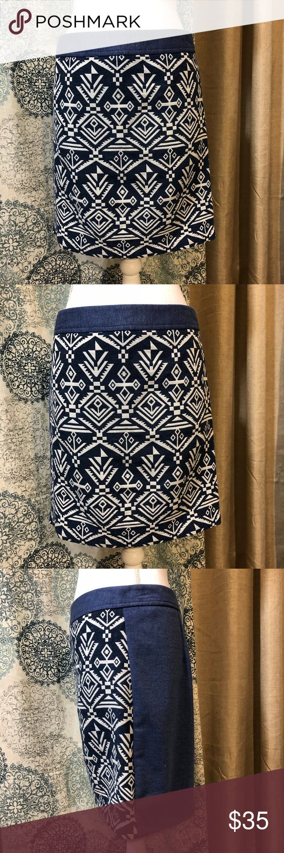 """Pixley Stitch Fix Tribal Blue Mini Skirt Pixley Stitch Fix tribal print skirt. Straight style. Materials Self 65% Cotton, 35% Polyester. Contrast 95% Polyester, 5% Spandex.   Size M  Measurements (laid flat)  Waist 15.5""""  Length 18""""  Condition  Excellent condition preowned with no flaws noted. Pixley Skirts Mini"""