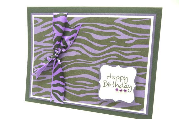 Zebra Print Birthday Card for Her, Animal Print Card, Purple Animal Print, Handmade Paper Greeting Card