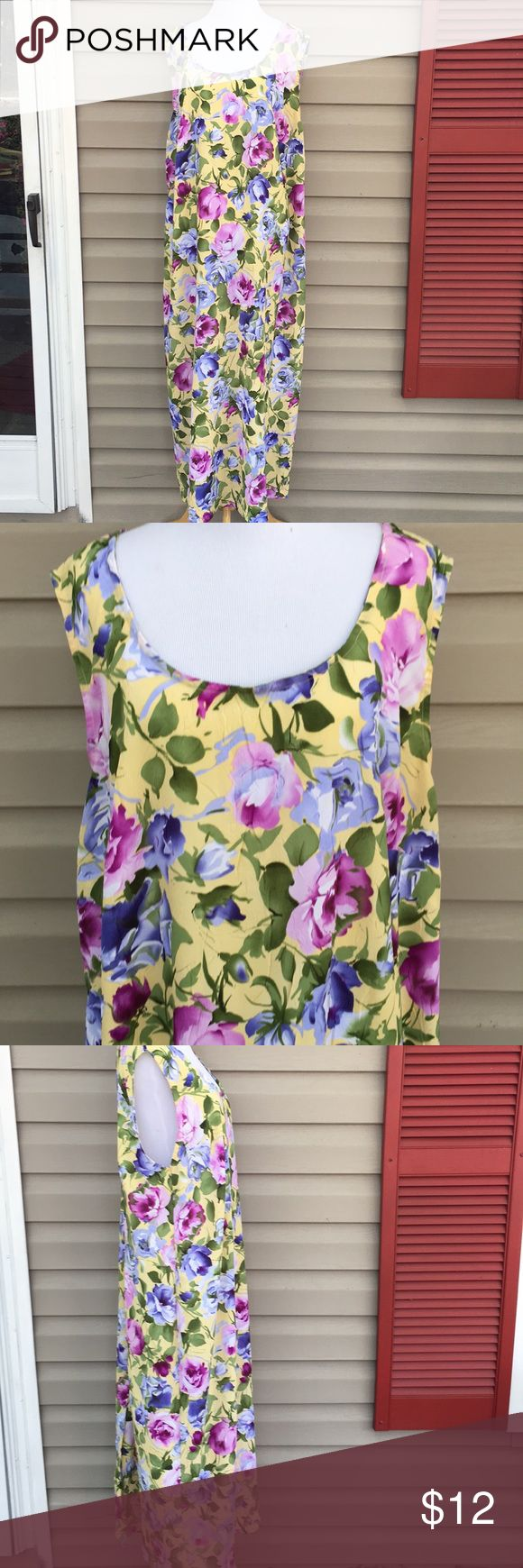 """Esmeralda fashion women's sleeveless spring dress Very pretty sleeveless yellow maxi dress with blue and purple flowers, green leaves, zips up back with 16"""" slit up back hem. 100% polyester 23""""W x 53""""L no snags, stains, pilling or holes. EUC Esmeralda fashions Dresses Maxi"""