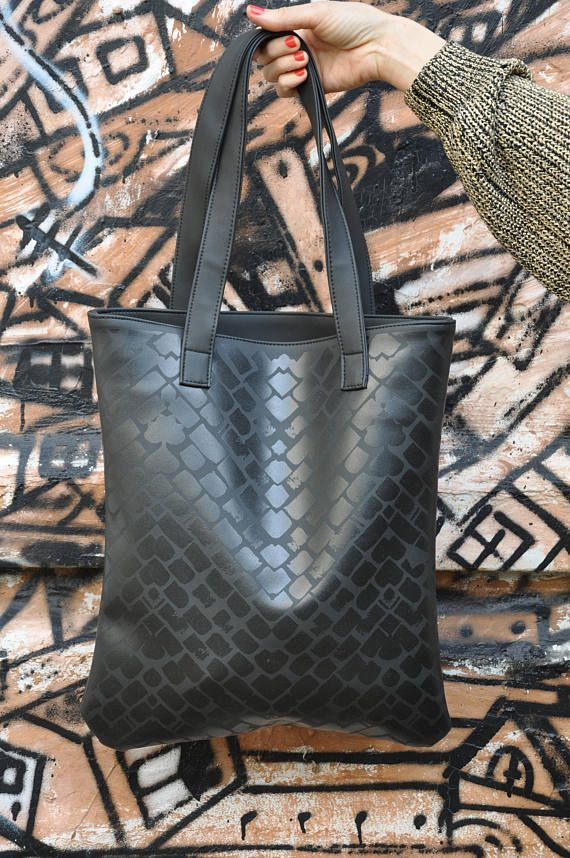 VEGAN TOTE BAG Black Casual Bag Stylish Black Shoulder Bag