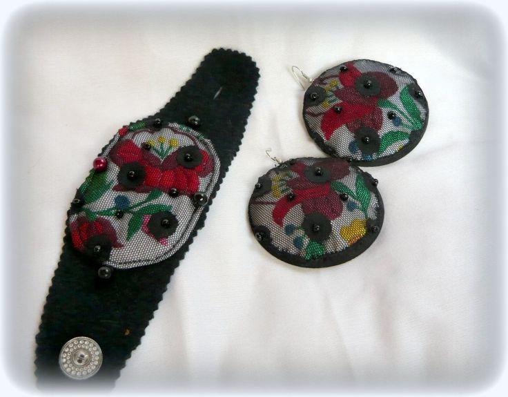 Handmade by Judy Majoros - Kalocsai Embroidery - Hungarian polka dots earring and bracelet. Recycled earring and bracelet. Polka dots tulle-black felt, beaded.