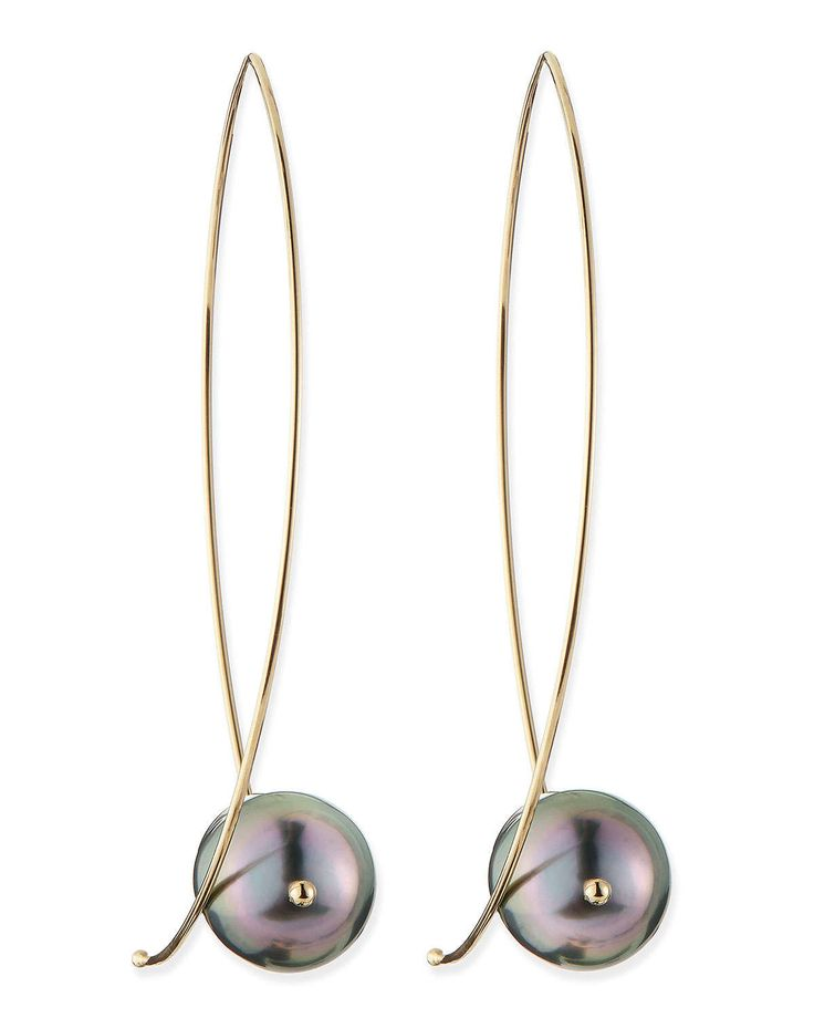 """Earrings by Mizuki. 14-karat yellow gold. Marquise wire hoop earrings for pierced ears. 10mm saltwater cultured, naturally black Tahitian pearls. Approx. 2 1/2""""L. Made in the USA."""