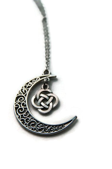 Celtic Knot on a Silver Crescent Moon Necklace by PurpleCatShop