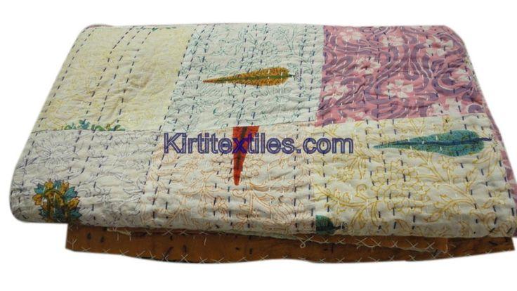 Elegant Printed Sanganeri Hand Block Printed Cotton Fabric Made Vintage Style Patchwork Gudri Bedspread Throw From Jaipur Rajasthan India