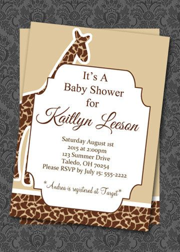 Giraffe Baby Shower Invitation Giraffe by HelenaPrints on Etsy  #baby #shower #giraffe