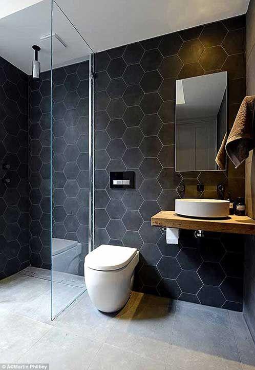 Fliesen badezimmer schwarz wabe 6-eck honeycomb tiles black