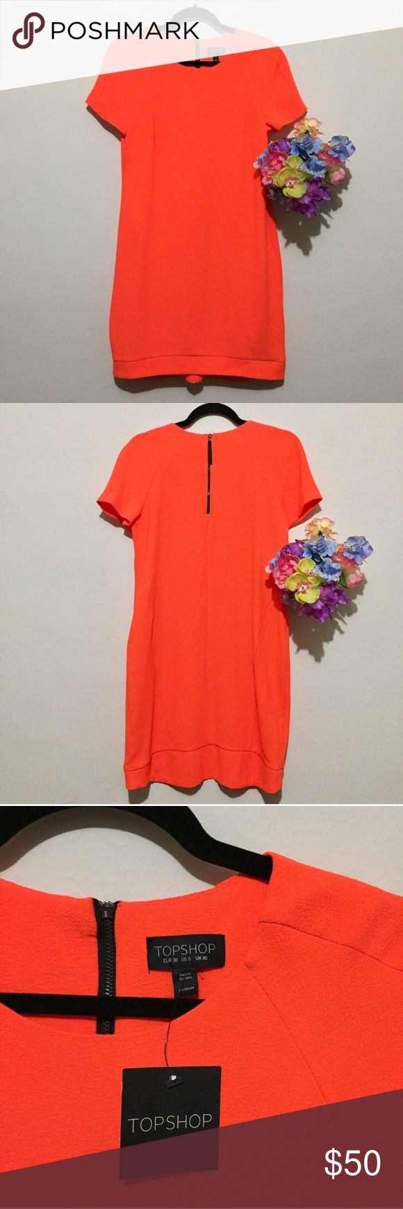 Top Shop Gorgeous orange mini dress Sz 6 BNWT Absolutely adorable, so flattering. Wear this for your summer shindigs! Xo Topshop Dresses Midi
