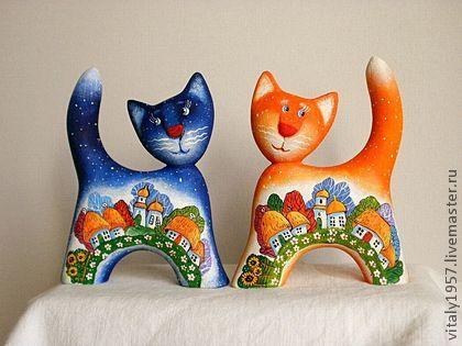 Игрушки животные, ручной работы. Ярмарка Мастеров - ручная работа котенок Мусик, скульптура дерево авторская роспись. Handmade.
