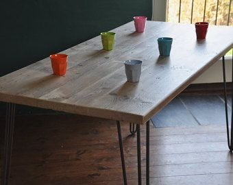 Reclaimed Wood Dining Table Industrial Rustic Vintage Scaffold Wood Table Rustic Scaffold Board Furniture Hairpin legs Bespoke Dining Table