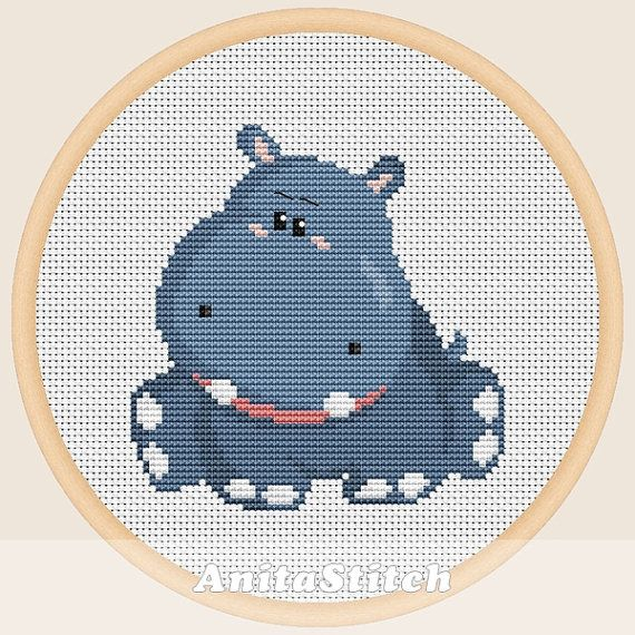 Hippo  Cross stitch pattern от AnitaStitch на Etsy