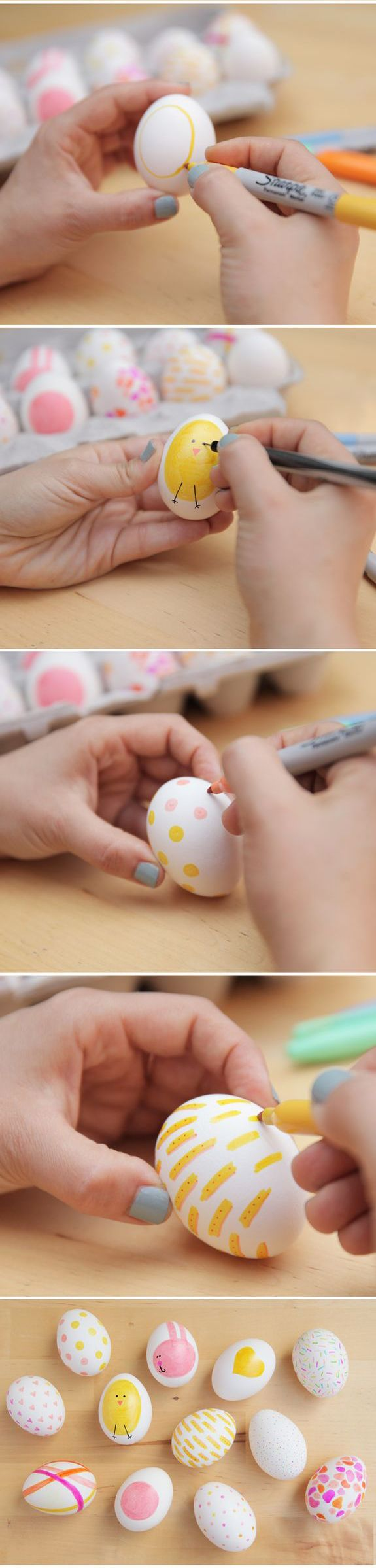 DIY Easter Eggs Sharpie Ideas - Use sharpies instead of paint for easy cleanup!
