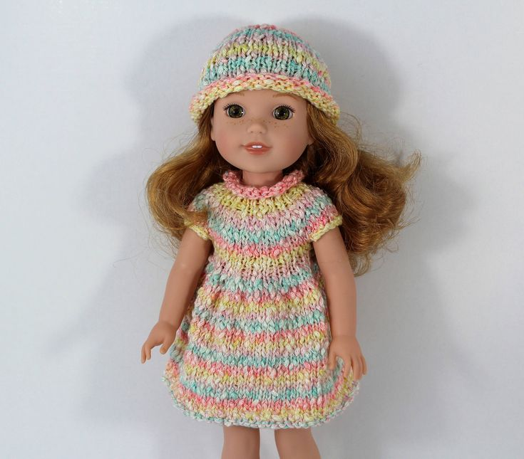 """Knitted dress and hat for WellieWishers Dolls (14,5""""). Outfit for doll. by CSKrafdollscloset on Etsy"""