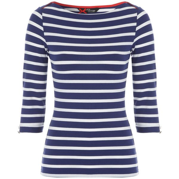 Navy And White Stripe Length Sleeve Boat Neck Top 16