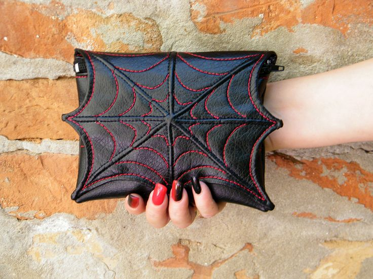 scary gifts at dawanda Spider web makeup cosmetic bag for purse from Fi-Machine Bags via en.dawanda.com