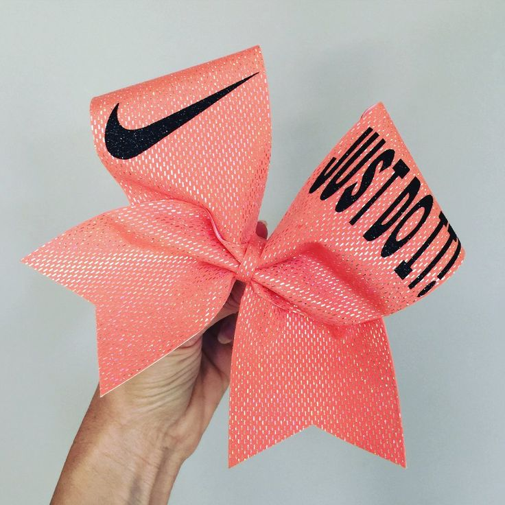Just Do It Holographic Coral Spandex Cheer Bow