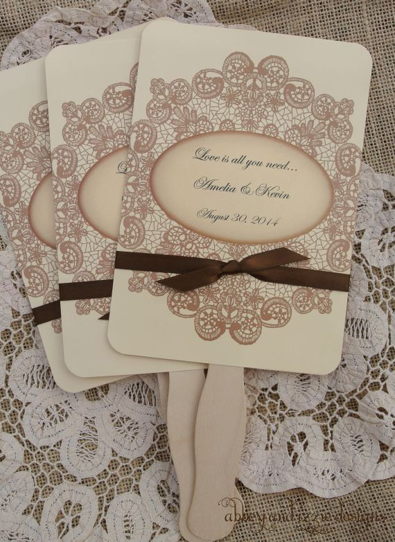 Wedding Favors,   Wedding Fans,  Rustic Wedding, Country Wedding, Lace Fans, Summer Wedding, by abbey and izzie designs