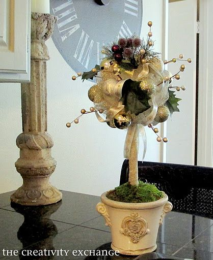 Easy ornament topiary tutorial