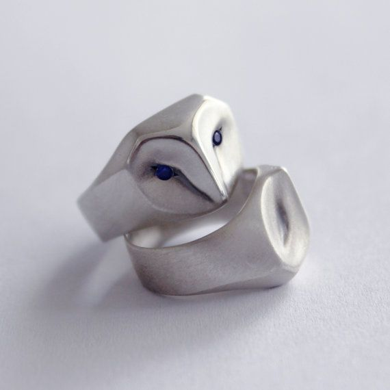 Owl Ring with Blue Sapphire Eyes, barn owl, animal jewelry, silver owl