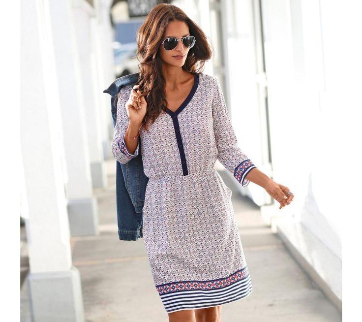 Šaty s potiskem a pružným pasem | blancheporte.cz #blancheporte #blancheporteCZ #blancheporte_cz #dress #saty