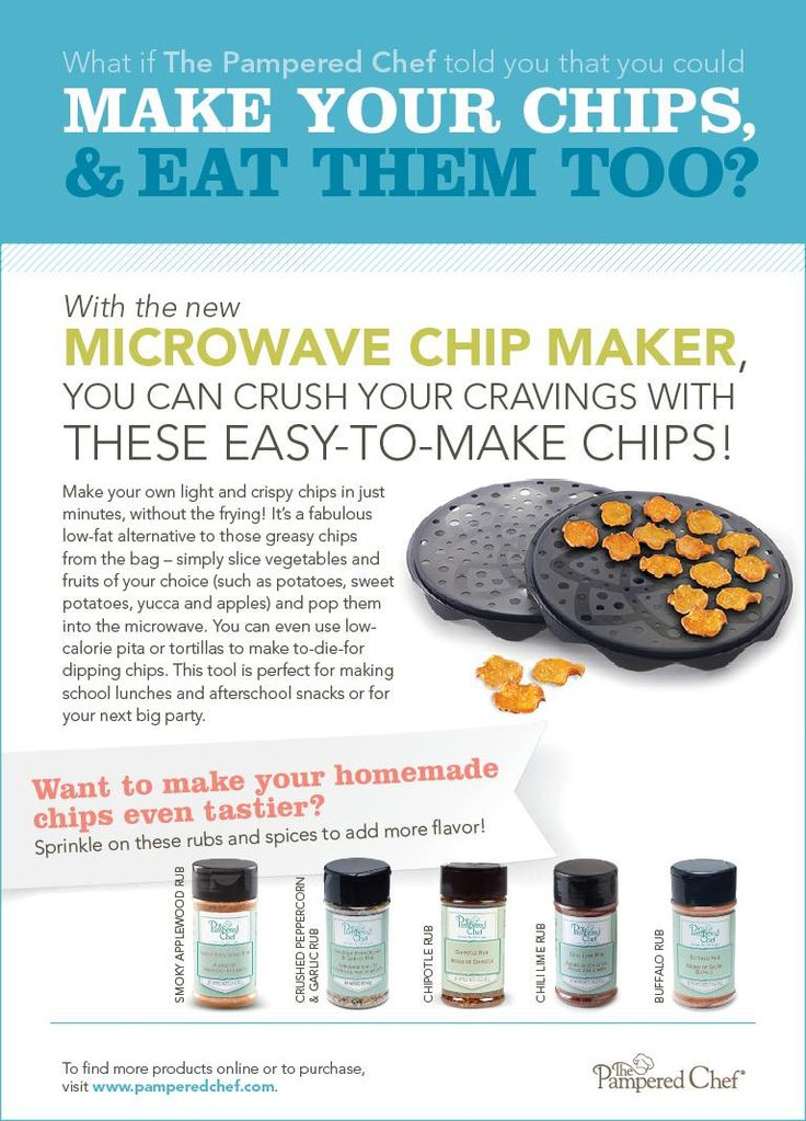 Great additions to the Microwave Chip Maker! Get your spices here: www.pamperedchef.biz/catherineskitchen