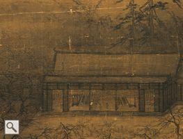 宋 馬遠 華灯侍宴図 (宋 馬遠 華灯侍宴図  春まだ浅い頃、霧が薄くかかる中に松と梅の枝が見え隠れしている。灯りがともされた宮殿の中に紅帳(赤いカーテン状の幕)や座屏(衝立状の装飾品)、長桌(長机)が見える。数人の役人が拱手の礼をしており、その傍らに金壺(酒を入れた容器)と盆に載せた杯を捧げ持った侍女が控えている。建物の外の広場では宮女が音楽に合わせて軽やかに舞っている。本作に描かれているのは、建築物の構造や様式から見るに、南宋の宮殿所在地だと思われる。)