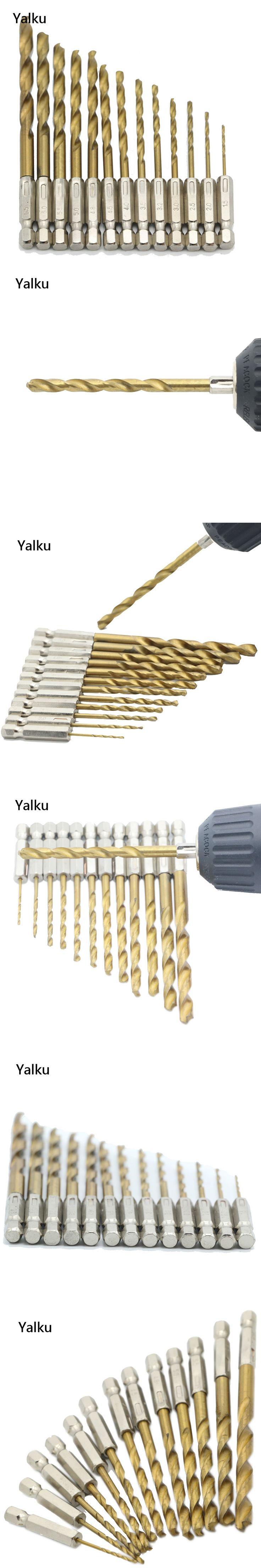 Yalku 13pc Six Point Screw Drill Perforating Drill Bit Screwdriver Power Tool Set Drill Hole Bit Set HSS Metal Woodworking Tool