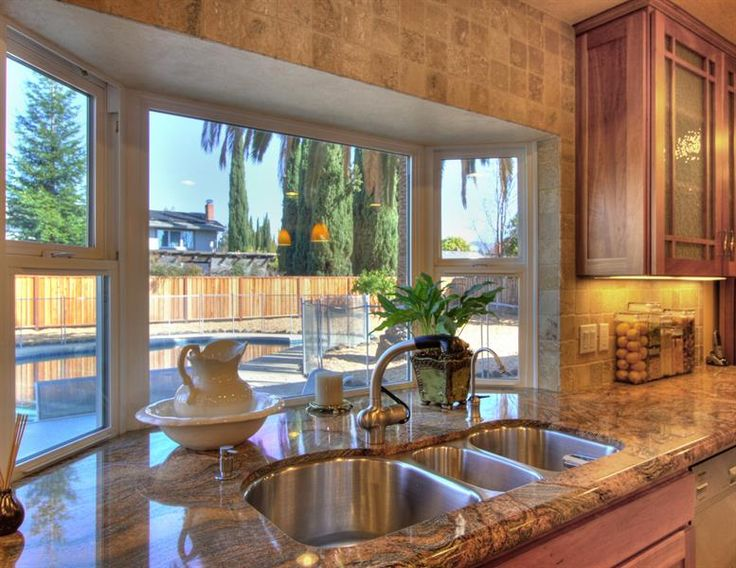 kitchen bay window stainless steel sink with grohe faucet - Kitchen Bay Window Ideas