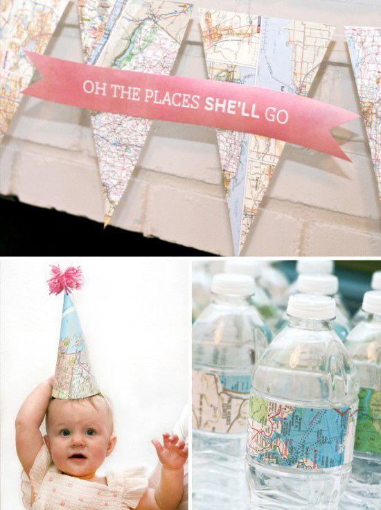 Map Decorating World Traveler First Birthday Party