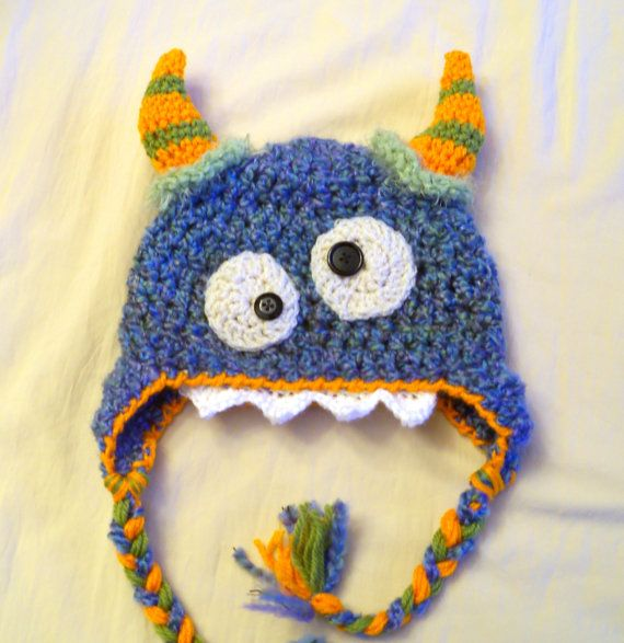 Blue Monster Hat Baby Hat Baby Monster Hat by JojosBootique. I would LOVE this but not in wool as we are allergic.