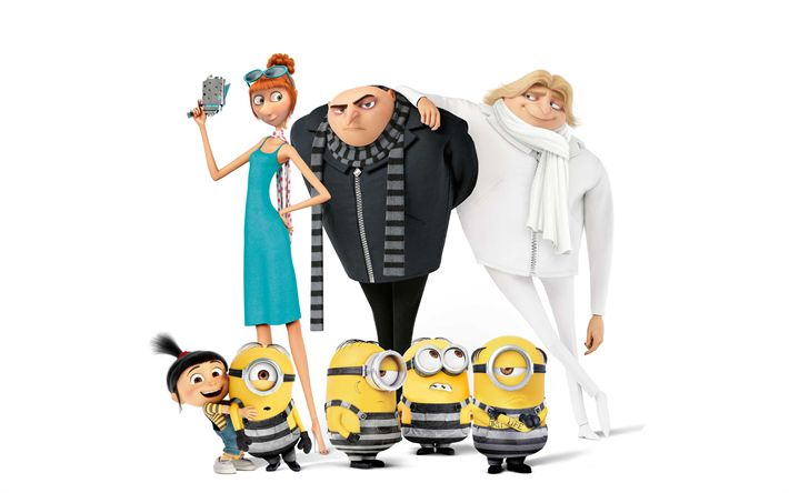 Download wallpapers Felonius Gru, Dru Gru, Lucy Wilde, Agnes Gru, minions, 4k, Despicable Me 3, 2017 movies, 3d-animation