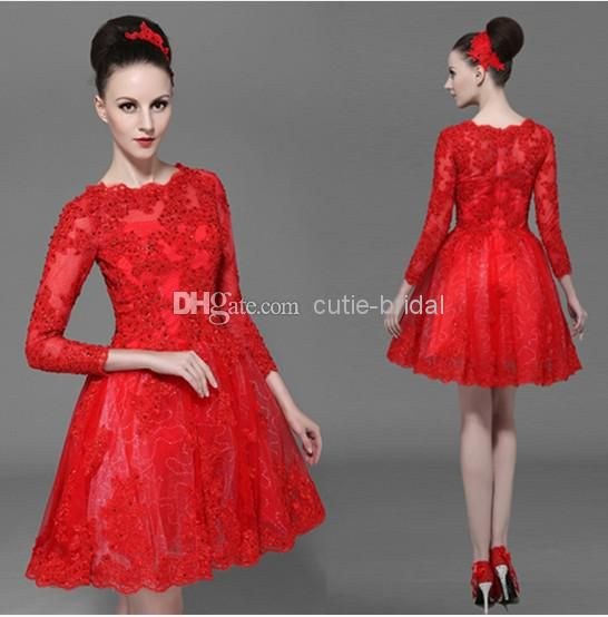 Cheap Evening Gowns - Discount Red Lace Long Sleeves Evening Gowns 2014 Scoop Online with $109.83/Piece | DHgate