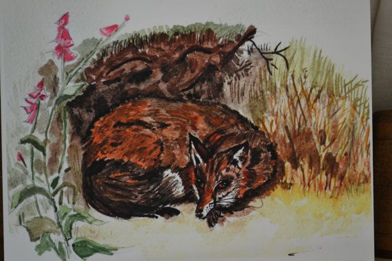 Fox after Thorburn: cream card and envelope by sarahNetLtd on Etsy