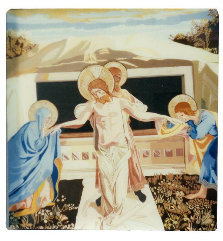 Pietà del BEATO ANGELICO - originale cm 38 x cm 46 - Riproduzione dipinto a mano con tecnica sotto vetro - cm 200 x cm 200
