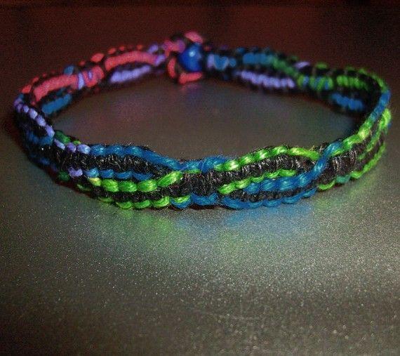 Split Strand Rainbow Vine Hemp Bracelet  Macrame Hemp by psysub, $7.00