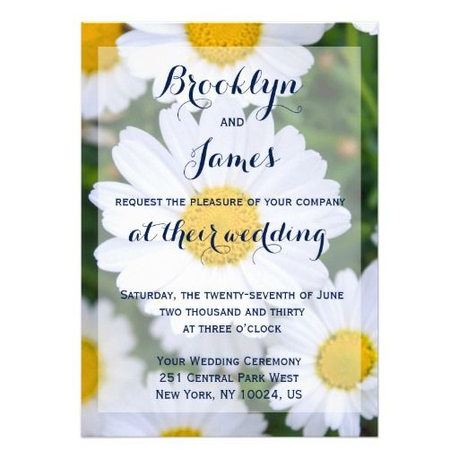 "Custom Floral Wedding Invitations With Daisy 5"" X 7"" Invitation Card"