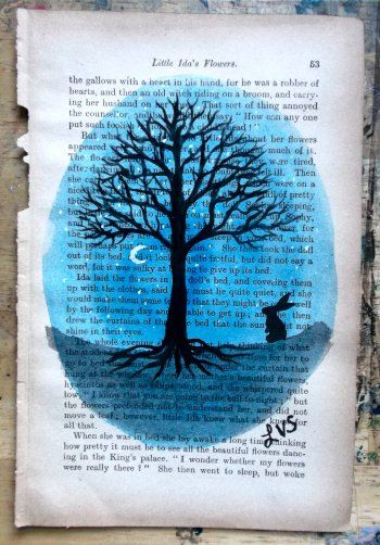 original acrylic painting old book page art rabbit silhouette - Book Pages Art