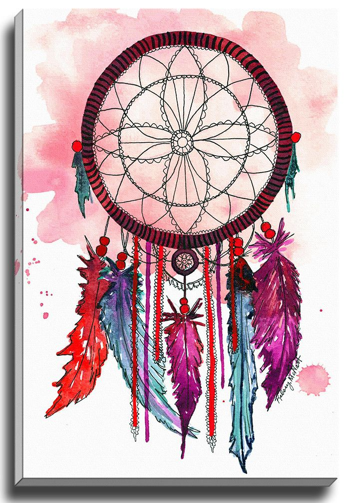 Red and Purple Dream Catcher by Kelsey McNatt Painting Print on Gallery Wrapped Canvas