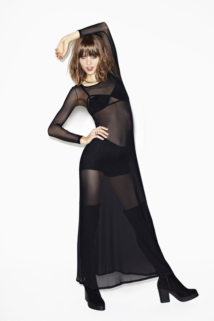 """Exposed Mesh Maxi Dress- though I would never wear this length, it makes anyone under 5'8"""" look like a troll."""