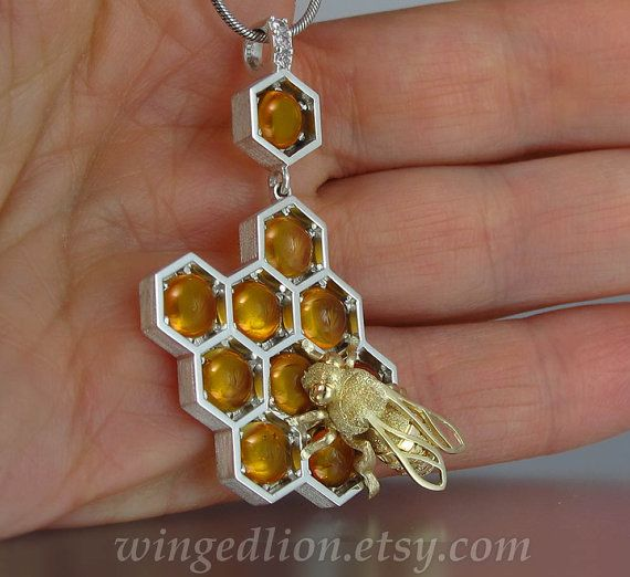 SWEETER THAN HONEY silver and 14k gold honeycomb and bee pendant with amber and white sapphires